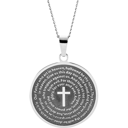 Stainless Steel Our Father Round Pendant Engravable