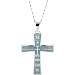 Stainless Steel Personalized Our Father Cross Pendant Engravable