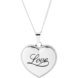 Stainless Steel Love Puffed Heart Pendant Engravable