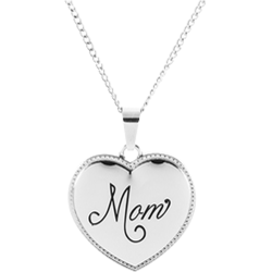 Stainless Steel Mom Puffed Pendant Engravable