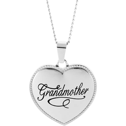 Stainless Steel Grandmother Puffed Heart  Pendant Engravable