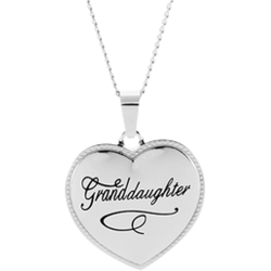 Stainless Steel Granddaughter Puffed Heart Pendant Engravable