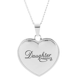 Stainless Steel Daughter Puffed Heart Pendant Engravable