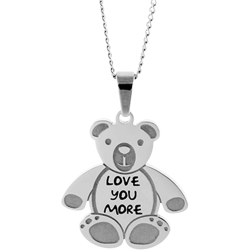 Stainless Steel Personalized Engraved Teddy Bear Pendant