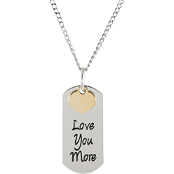 Stainless Steel Personalized Engraved Love You More Pendant with Chain