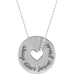 Stainless Steel Sisters Friendship Pendant Engravable