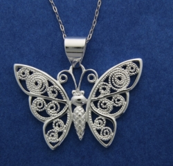 Sterling Silver Filigree Butterfly Pendant