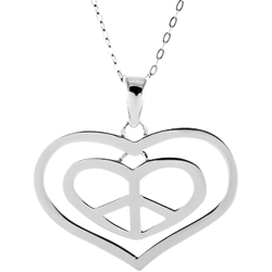 Sterling Silver Peace Sign Love Pendant