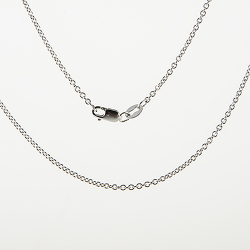 "Sterling Silver 18"" Round Link Cable Chain"