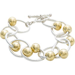 Sterling Silver Link And Gold Bead Fashion Bracelet