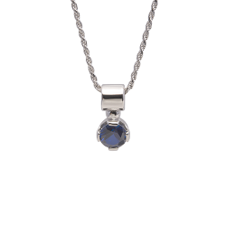 Sterling Silver 7mm Round Blue Sapphire Solitaire Pendant with Chain