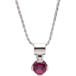 Sterling Silver 7mm Ruby Round Solitaire Pendant