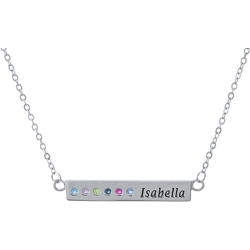 Sterling Silver Personalized  Birthstone and Engraved Name Bar Necklace