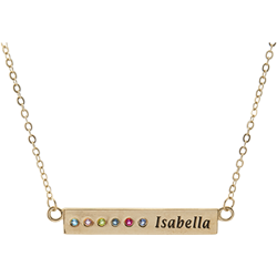 Gold Plated Sterling Silver Personalized Birthstone and Engraved Name Bar Necklace
