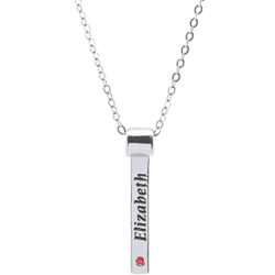 Personalized Sterling Silver Engraved Vertical Name and Birthstone Bar Pendant