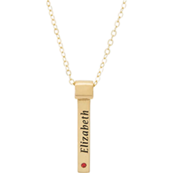 Personalized Gold Plated Sterling Silver Vertical Engraved Name and Birthstone Bar Pendant