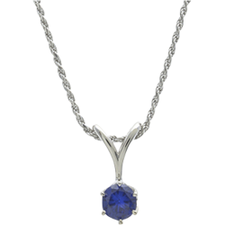 Sterling Silver 6.5mm Round Blue Sapphire Solitaire Pendant with Chain
