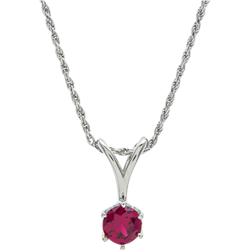 Sterling Silver 6.5mm Round Ruby Solitaire Pendant