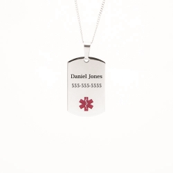 Stainless Steel Personalized Medical ID Pendant Free Engraving