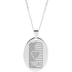 Stainless Steel Engraved I Love USA Flag Oval Pendant With FDR Quote