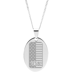 Stainless Steel Personalized Engraved USA Flag Oval Pendant