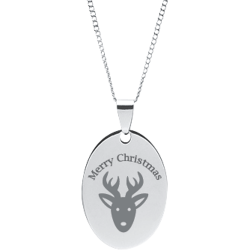 Stainless Steel Personalized Engraved Christmas Reindeer Oval Pendant