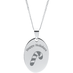 Stainless Steel Personalized Engraved Happy Holiday Candy Cane Oval Pendant