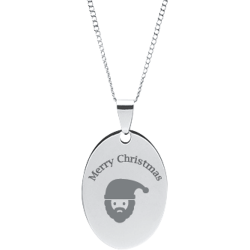 Stainless Steel Personalized Engraved Christmas Santa Oval Pendant