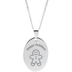 Stainless Steel Personalized Engraved Happy Holiday Ginger Bread Man Oval Pendant