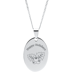 Stainless Steel Personalized Engraved Happy Holiday Holly Oval Pendant