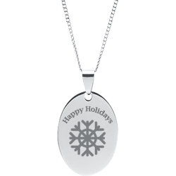 Stainless Steel Personalized Engraved Happy Holiday Snow Flake Oval Pendant