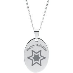 Stainless Steel Personalized Engraved Happy Holiday Star Oval Pendant