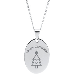 Stainless Steel Personalized Engraved Christmas Tree Oval Pendant