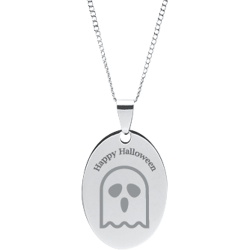 Stainless Steel Personalized Engraved Halloween Ghost Oval Pendant