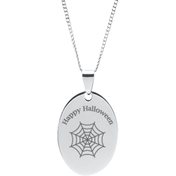 Stainless Steel Personalized Engraved Halloween Spider Web Oval Pendant