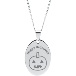 Stainless Steel Personalized Engraved Halloween Pumpkin Oval Pendant