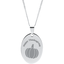 Stainless Steel Personalized Engraved Thanksgiving Pumpkin Oval pendant