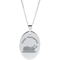 Stainless Steel Personalized Engraved Thanksgiving Turkey Oval Pendant