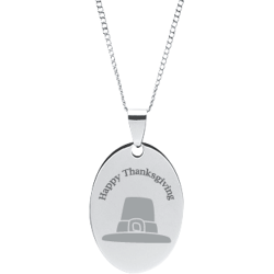 Stainless Steel Personalized Engraved Thanksgiving Pilgrim Hat Oval Pendant