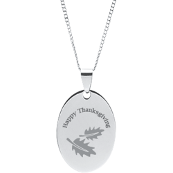 Stainless Steel Personalized Engraved Fall Leaves Oval Pendant