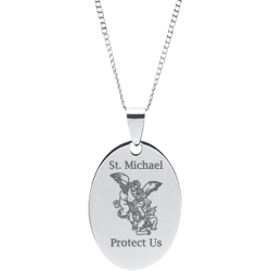 Stainless Steel Engraved St. Michael Oval Prayer Pendant