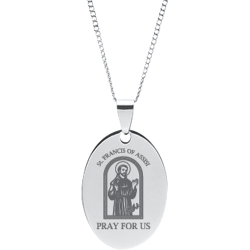 Stainless Steel Engraved St. Francis Of Assisi Oval Peace Prayer Pendant