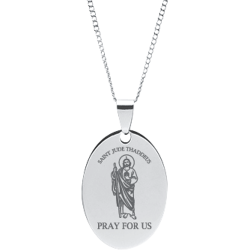 Stainless Steel Engraved St. Jude Thaddeus Oval Prayer Pendant
