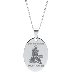 Stainless Steel Engraved St. Jude Thaddeus Oval Novena Prayer Pendant