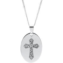 Stainless Steel Engraved Cross with Serenity Prayer Oval Pendant