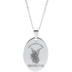 Stainless Steel Personalized Engraved Guardian Angel Oval Pendant