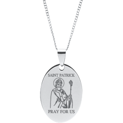 Stainless Steel Engraved Saint Patrick Oval Prayer Pendant with Chain