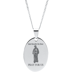 Stainless Steel Engraved Saint Benedict Oval Pendant With Prayer