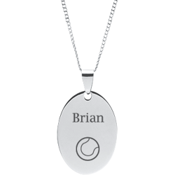 Stainless Steel Personalized Engraved Tennis Ball Oval Pendant with Chain
