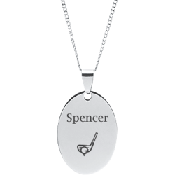 Stainless Steel Personalized Engraved Golf Club & Ball Oval Pendant with Chain